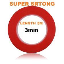 3mm Rojo Adhesivo de doble cara cinta adhesiva fácil levantar Super Fuerte 5M de longitud