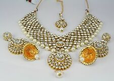 Gold Plated wedding party Indian traditional Kundan Necklace set earring tikka