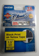 "Brother TZ661 P-touch TZ Tape Black Print on Yellow Tape 1.5"" Width"