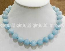 "Natural 14mm  Brazilian aquamarine gems round beads necklace 18"" JN2176"