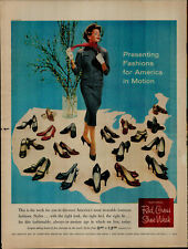 1958 Red Cross Shoe Women Standing Surrounded By Shoes Vintage Print Ad 2837
