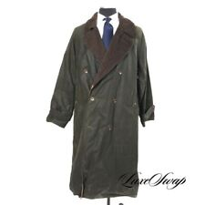 Vintage Polo Ralph Lauren Made in USA Olive Waxed Cotton Alpaca Clr Long Coat L