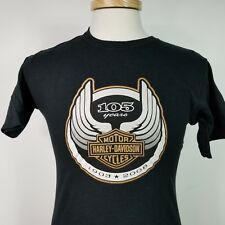 Harley Davidson Small Mens Black 105th Anniversary T Shirt Made in USA