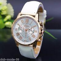 Beautiful Ladies Watch Geneve Bracelet Imitation Leather White Fashion Quartz