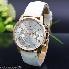 Belle Montre Femme Geneve Bracelet Simili Cuir Blanc Fashion Watch Quartz