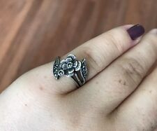 Tested Sterling Silver & Marcasite Bypass Pretty Flower Ring size 4 3/4