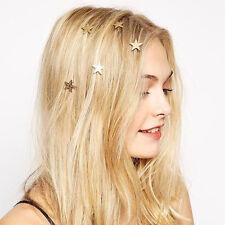 5pcs Wedding Diamante Gold Star Hair Twists Swirls Pins Spirals Hair Clips