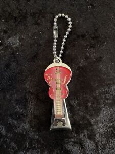 Vintage Pink Guitar Shaped Nail Clipper Keychain - New