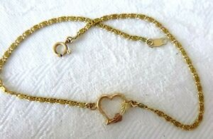 Vintage 10K Gold Anklet Heart w/Leaves Paperclip-Type Chain Ankle Bracelet