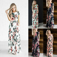 Women Floral Maxi Dress Boho Evening Party Summer Beach Casual Long Sundress  St