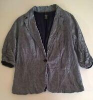 womens torrid jacket size 2 blue white 100% cotton 3/4 sleeve button faux pocket