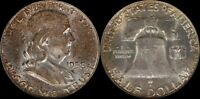 1958 D Franklin Half Dollar NGC Toner Silver Obsolete US Old Type Coin Crusty