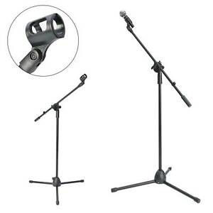 Straight Microphone Stand with Tripod Base - Adjustable Mic Stand - Black UK