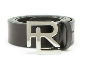$395 Ralph Lauren Purple Label Mens Black Leather Silver RL Buckle Belt NWT