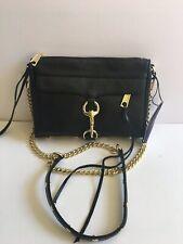 REBECCA MINKOFF  Mini Mac Black Leather Cross Body Bag