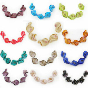 10 Rose Flower Glass Twist Helix Loose Beads Fashion Jewelry Making Spacer 20mm#