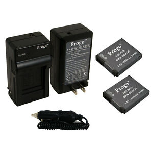 2 Battery + Charger Kit for Panasonic Lumix DMC-TS5 FT5 ZS30 ZS27 TZ37 TZ40 TZ41