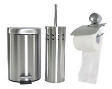 3tlg. Bad Set Chrom Badezimmer Set Abfalleimer Toiletten WC Bürste Badgarnitur