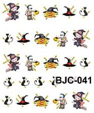 Nail art stickers décalcomanie: Déco Halloween chats citrouilles sorcières