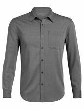 Icebreaker Compass Men Cool-Lite Merino Wool Flannel Long Sleeve Shirt Grey