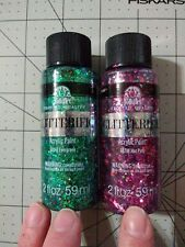 2 pack Glitterific Evergreen and Hot Pink Acrylic Paint 2 oz each
