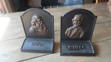 VINTAGE Bookends Bryant & Whittier Great Poets Bronze 6 x 5 x 2.75 inches