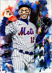 2021 Francisco Lindor New York Mets 5/25 Art ACEO Sketch Print Card By:Q