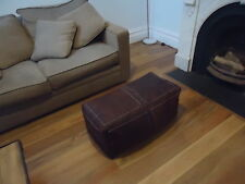 Brand New Moroccan Leather Ottoman Pouffe Pouf Footstool Coffee Table Chocolate