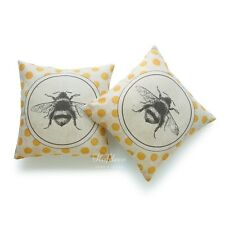 2Pcs Throw Pillow Case Vintage French Country Bee On Yellow Dots Cushion Cover
