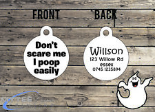 "Halloween Dog ID Collar Tag ""Don't Scare Me I Poo"" - Double Sided Pet Charm Tag"