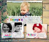 10 Personalised Kids Birthday Invitations Invites Photo Boy Girl Twins Joint Fun