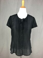 XL 16 ANN TAYLOR LOFT Blouse Black Dotted Swiss Sheer Peasant Top