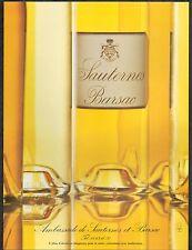 ▬► PUBLICITE ADVERTISING AD Sauternes Parsac Vin Blanc 1991