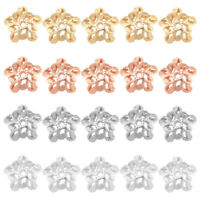 5pcs Hollow Flower 925 Sterling Sillver End Bead Caps 6mm for Earring Beads