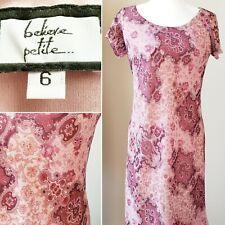 Believe Women's Dress Size 6 Petite Paisley Polyester Ruffle Lined Short Sleeve