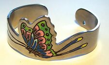 Sweet Steel? Cuff Bracelet With Enamel Butterfly