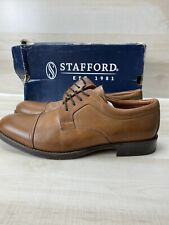 Brand New - Stafford Brown Leather Dress Shoes Men's US 12 M  014-1325 Excellent