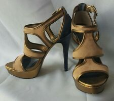 Jessica Simpson womens shoes, heels size 6, Bronze and Blue velvet stilettos