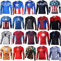 Men Compression Superhero T-shirt Long Sleeve Sports Casual Top Tee Bike Jersey