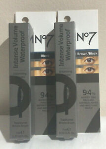 Boots No7 INTENSE VOLUME WATERPROOF Mascara  Black or Brown/Black 7ml BOXED