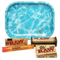 RAW 1 1/4 Rolling Papers, 79mm Roller,Leaf Lock Gear Mini Tray (Ripple) and MORE