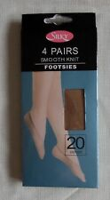 ladies smooth knit shoe liner footsie socks plain natural 4 pair pack size 3-8