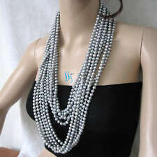 """5 Strands of 64"""" 6-8mm Gray freshwater pearl necklaces Wholesale Jewelry"""