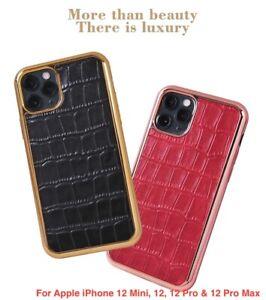 Premium Slim Plating Luxury Real Leather Case For iPhone 12 Mini,12,12 Pro & Max