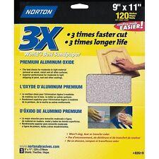 Norton 02619 3X Handy Aluminum-Oxide Sandpaper 120 Grit, 9-Inch x 11-Inch, 3-Pac