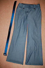 New Sz 12 M&S Light Weigh Smart Denim Flare Trousers Jeans With Belt Nautical