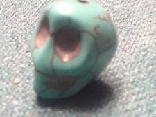 "CARVED STONE SKULL REAL TURQUOISE  1/2""  FREE SHIP"