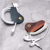 2PCS Cord Organizer Headset Headphone Earphone Wrap Winder Cowhide Leather