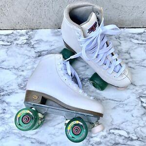 Women's Sure-Grip International Fame Rollerskates 7 White Gravity Glitter Wheels