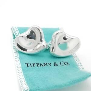TIFFANY&Co Large Puff Heart Clip-on Earrings Elsa Peretti Silver 925 e508